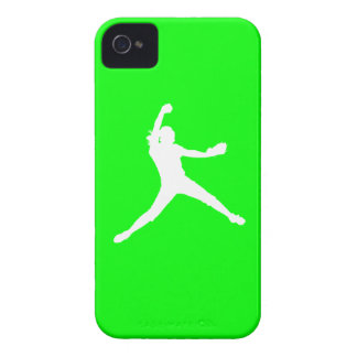 iPhone 4 Fastpitch Silhouette White on Green Case-Mate iPhone 4 Cases