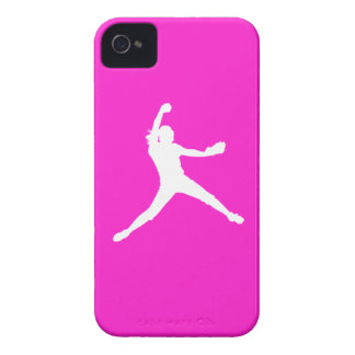 iPhone 4 Fastpitch Silhouette White on Pink iPhone 4 Cases