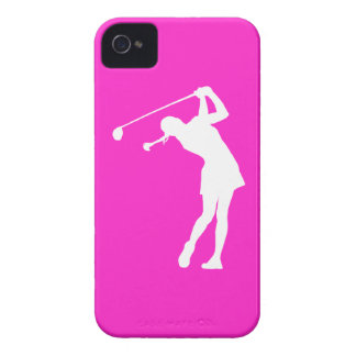 iPhone 4 Lady Golfer Silhouette White on Pink iPhone 4 Case-Mate Cases