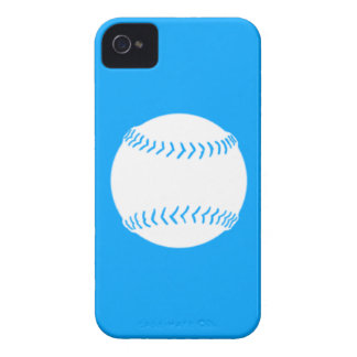 iPhone 4 Softball Silhouette White on Blue iPhone 4 Case-Mate Cases