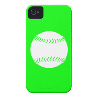 iPhone 4 Softball Silhouette White on Green Case-Mate iPhone 4 Cases