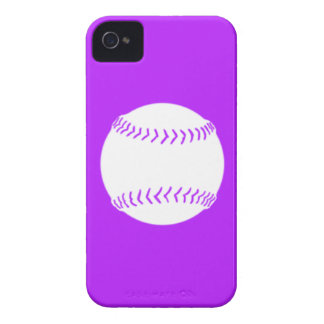 iPhone 4 Softball Silhouette White on Purple Case-Mate iPhone 4 Cases