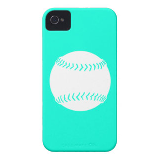 iPhone 4 Softball Silhouette White on Turquoise iPhone 4 Case