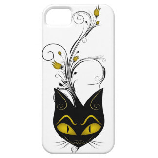 iPhone 5 Barely There Case Black Cat Yellow Flower iPhone 5 Covers