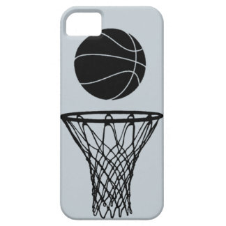 iPhone 5 Basketball Silhouette Black on SIlver iPhone 5 Cases