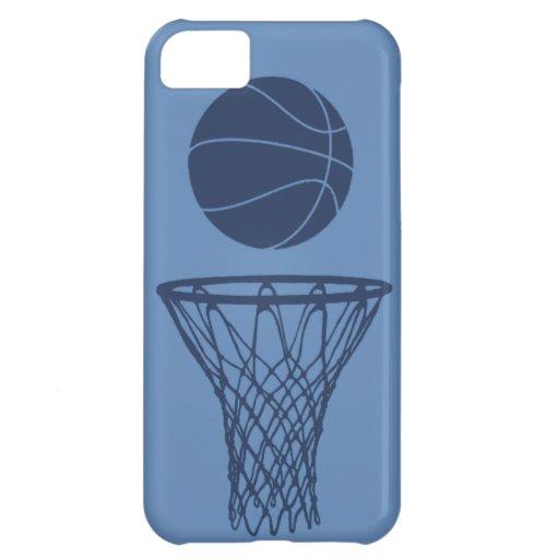 iPhone 5 Basketball Silhouette Dark Blue on Light iPhone 5C Cases