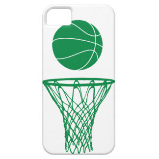 iPhone 5 Basketball Silhouette Green on White iPhone 5 Cover