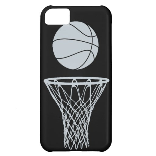 iPhone 5 Basketball Silhouette Silver on Black Case For iPhone 5C
