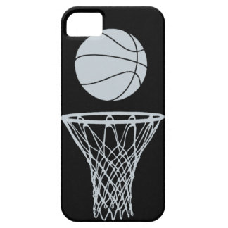 iPhone 5 Basketball Silhouette Silver on Black iPhone 5 Covers