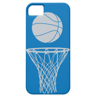 iPhone 5 Basketball Silhouette Silver on Blue iPhone 5 Covers