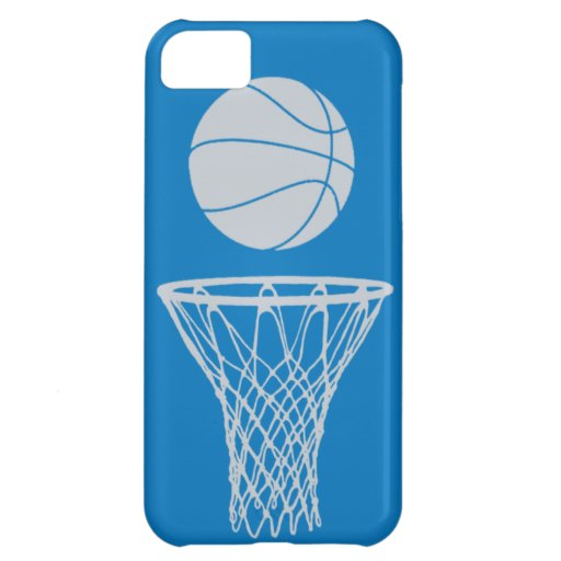 iPhone 5 Basketball Silhouette Silver on Blue Cover For iPhone 5C