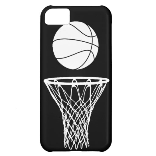 iPhone 5 Basketball Silhouette White on Black iPhone 5C Cases