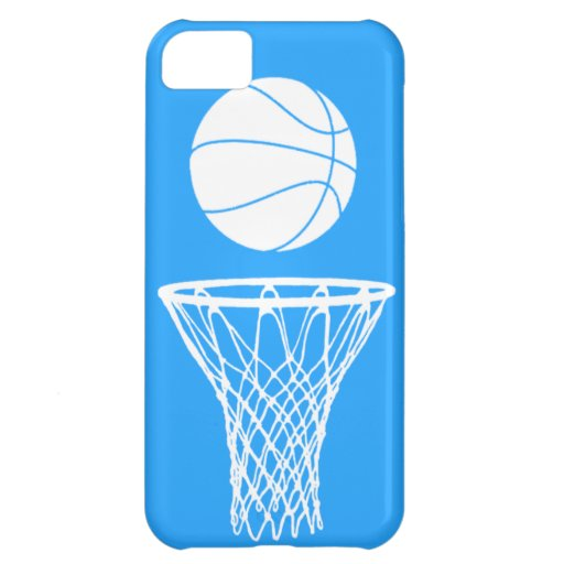 iPhone 5 Basketball Silhouette White on Blue Cover For iPhone 5C
