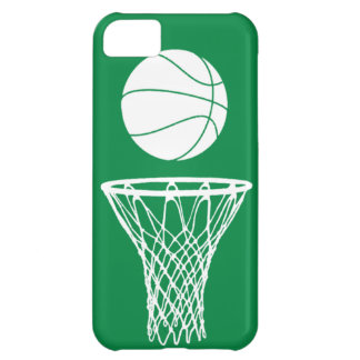 iPhone 5 Basketball Silhouette White on Green iPhone 5C Cases