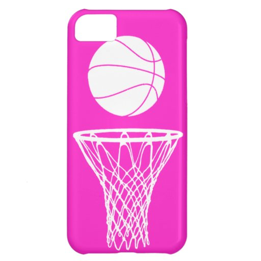 iPhone 5 Basketball Silhouette White on Pink Cover For iPhone 5C