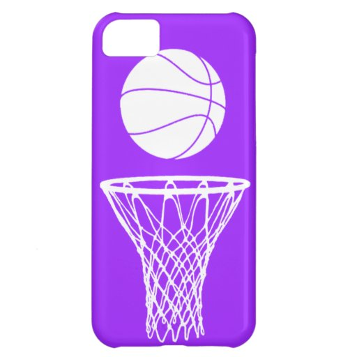 iPhone 5 Basketball Silhouette White on Purple Case For iPhone 5C