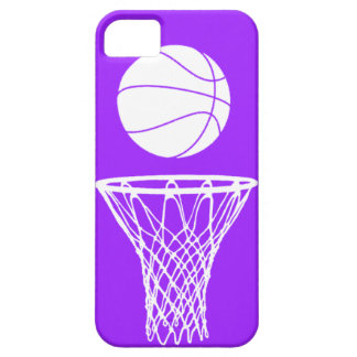iPhone 5 Basketball Silhouette White on Purple Case For The iPhone 5