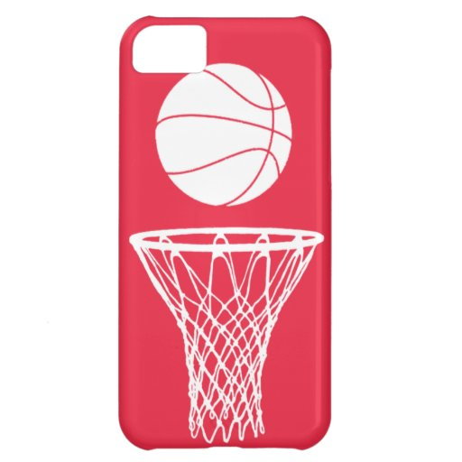 iPhone 5 Basketball Silhouette White on Red Cover For iPhone 5C