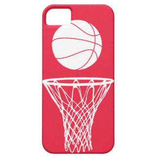 iPhone 5 Basketball Silhouette White on Red iPhone 5 Cases