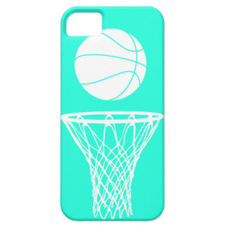 iPhone 5 Basketball Silhouette White on Turquoise iPhone 5 Cover