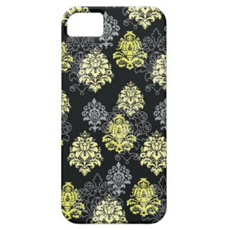iPhone 5 case-Citron and Black Damask iPhone 5 Cases