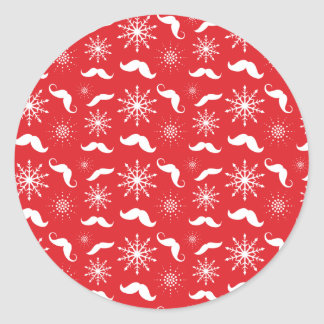iPhone 5 Case - Holiday Mustache Print Round Sticker