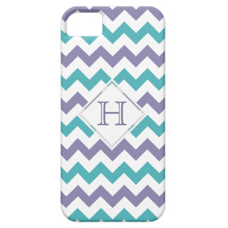 iPhone 5 Case: Monogram: Purple & Blue Chevron Case For The iPhone 5