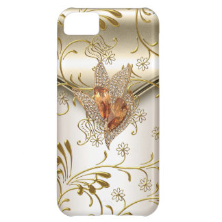 iPhone 5 Damask Caramel Cream Beige Gold Amber Cover For iPhone 5C