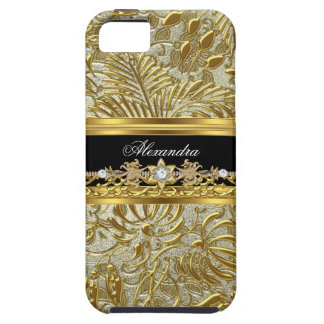 iPhone 5 Elegant Gold Black Silver Damask Case For The iPhone 5