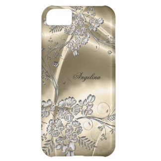 iPhone 5 Elegant Sepia Silver Metal Floral Look iPhone 5C Cases
