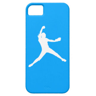 iPhone 5 Fastpitch Silhouette White on Blue iPhone 5 Covers