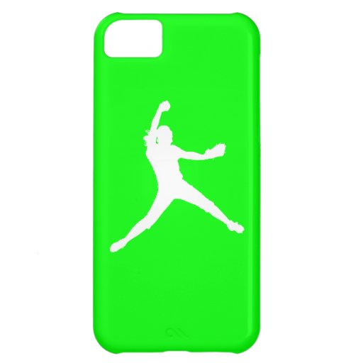 iPhone 5 Fastpitch Silhouette White on Green Cover For iPhone 5C