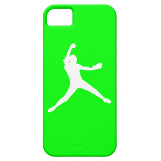 iPhone 5 Fastpitch Silhouette White on Green iPhone 5 Case