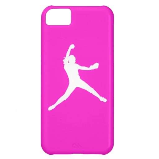 iPhone 5 Fastpitch Silhouette White on Pink iPhone 5C Cases
