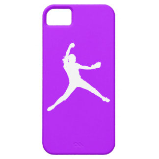 iPhone 5 Fastpitch Silhouette White on Purple iPhone 5 Covers