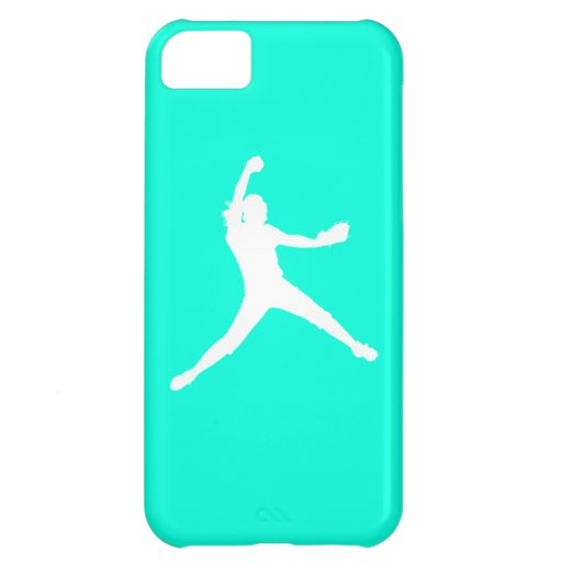 iPhone 5 Fastpitch Silhouette White on Turquoise iPhone 5C Covers