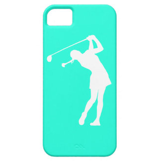 iPhone 5 Lady Golfer Silhouette White on Turquoise iPhone 5 Covers