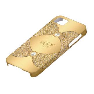 iPhone 5 Monogrammed Regal Elegant Pearl Gold iPhone 5 Cases