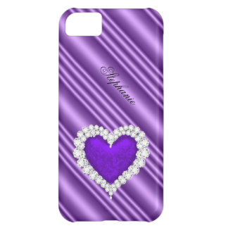 iPhone 5 Princess Silver Purple Bejeweled Case For iPhone 5C