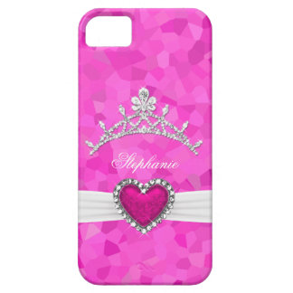 iPhone 5 Princess Silver Tiara Hot Pink Bejeweled Case For The iPhone 5