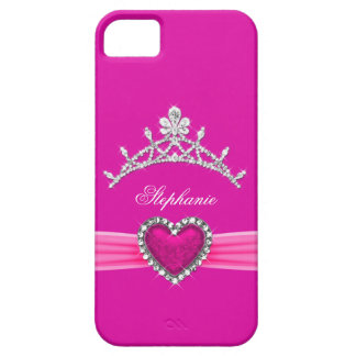 iPhone 5 Princess Silver Tiara Hot Pink Bejeweled iPhone 5 Covers