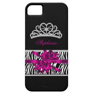 iPhone 5 Princess Silver Tiara Pink Zebra iPhone 5 Covers