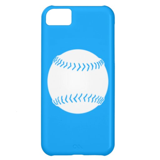 iPhone 5 Softball Silhouette White on Blue Cover For iPhone 5C