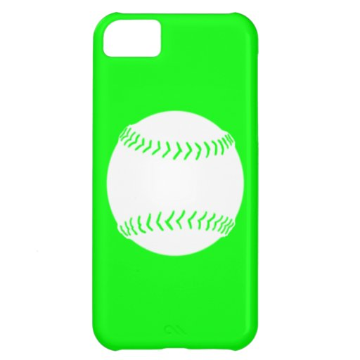 iPhone 5 Softball Silhouette White on Green Cover For iPhone 5C