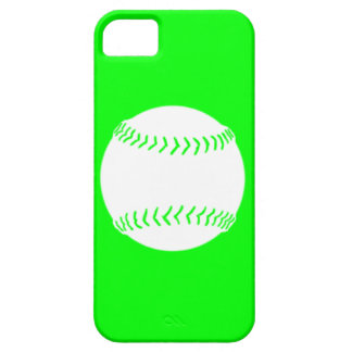 iPhone 5 Softball Silhouette White on Green iPhone 5 Covers