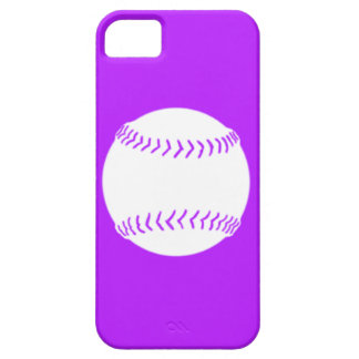 iPhone 5 Softball Silhouette White on Purple iPhone 5 Cases