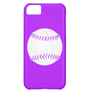 iPhone 5 Softball Silhouette White on Purple Cover For iPhone 5C