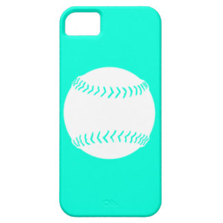 iPhone 5 Softball Silhouette White on Turquoise iPhone 5 Cover