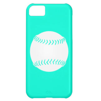 iPhone 5 Softball Silhouette White on Turquoise iPhone 5C Covers
