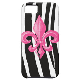 iPhone 5 Tough - Zebra w/ Hot Pink Fleur de Lis iPhone 5 Case
